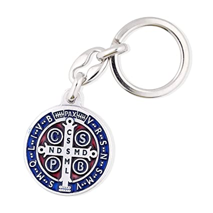 VILLAGE GIFT IMPORTERS Large 2-1/4 inch | Saint Benedict Medal Key Chain with Colored Enamel | Made in Italy