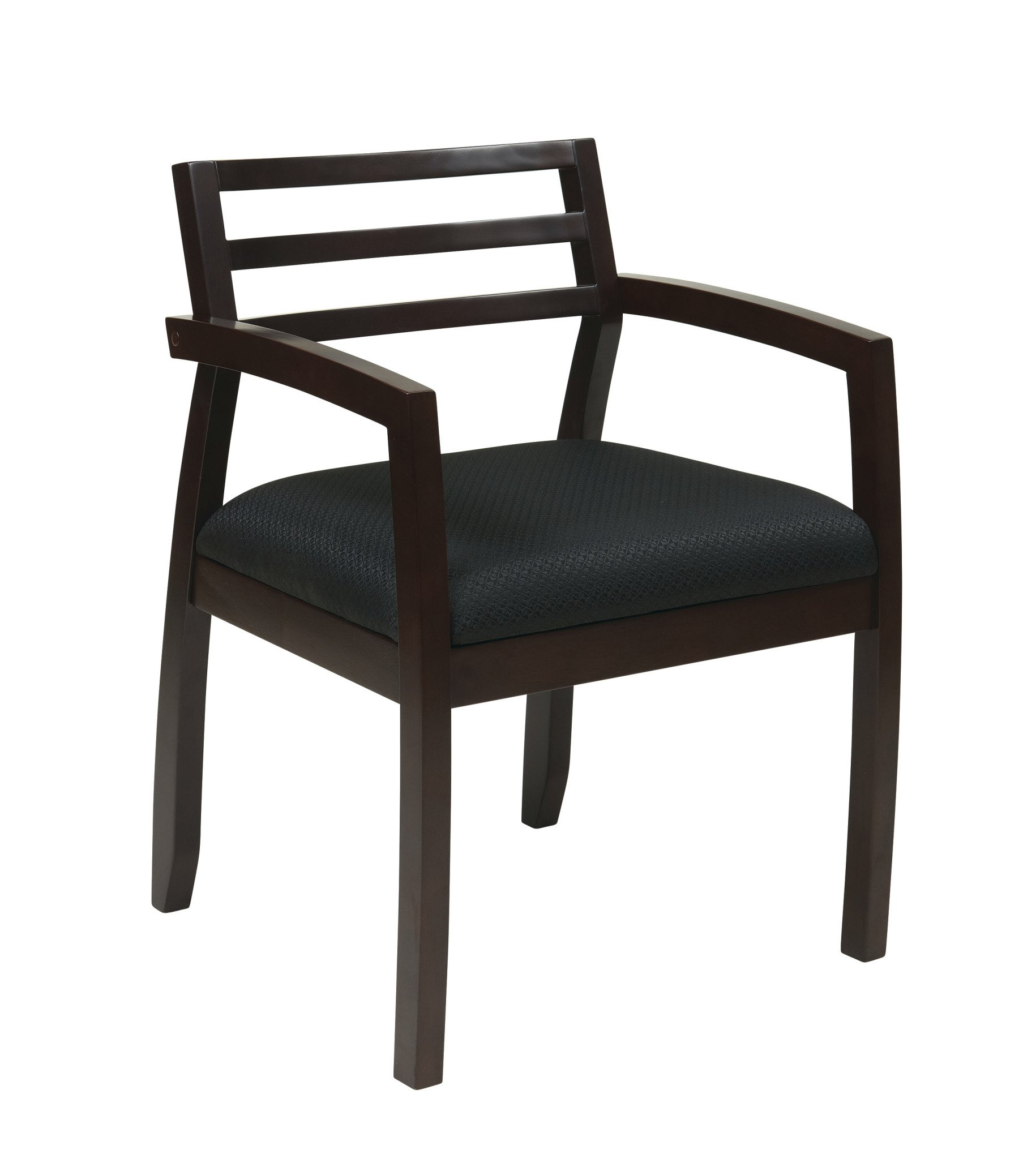 Office Star Napa Ladder Back and Padded Black Upholstered Seat Wood Guest Chair, Espresso Finish
