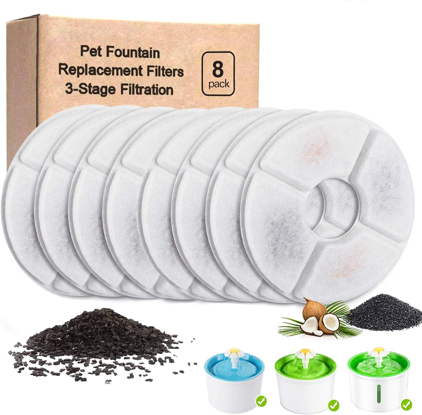 YAYAMOZOM Cat Water Fountain Filters - 8Pcs, Cat Fountain Replacement Filter, Three-Triple Filtration System Replacement Filters for 54oz/1.6L Automatic Cat Fountain Filters Dispenser
