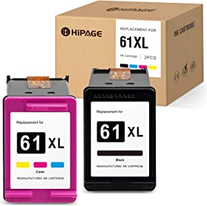 HIPAGE Remanufactured Ink Cartridge Replacement for HP 61XL 61 XL for Envy 5530 4500 5534 5535 Deskjet 1010 1000 1510 1512 2540 3050 3510 Officejet 2620 4630 4635(Black, Tri-Color, 2-Pack)