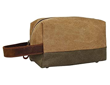 Amazon.com   Canvas Travel Toiletry Bag For Men - Leather Personal  Organizer Kit Dopp Kit   Beauty 204b51c6d271d