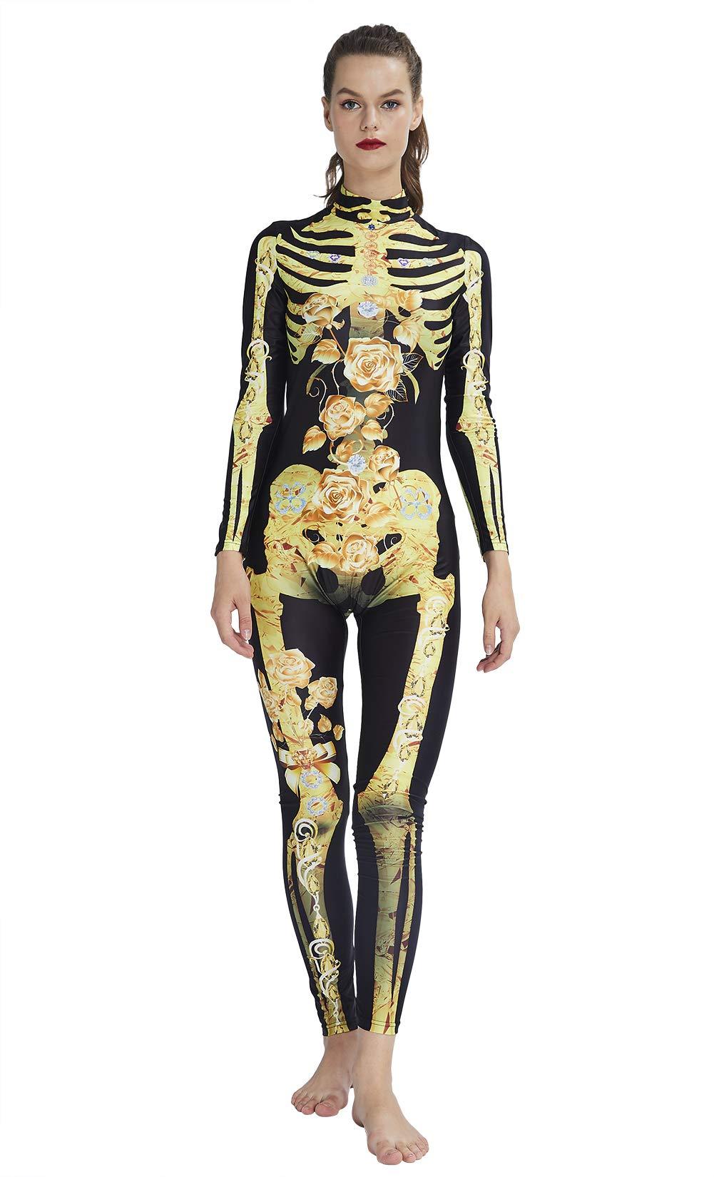 RAISEVERN3D gráfico de la Flor de Oro Impreso Scary Zombie Onesies de Halloween Trajes de Manga Larga Atractiva del Cosplay Esqueleto del Mono del Estiramiento Body Completo