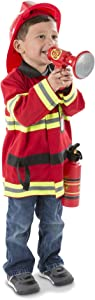 """Melissa & Doug Fire Chief Role Play Costume Set (Pretend Play, Frustration-Free Packaging, Bright Red, 17.5"""" H x 24"""" W x 2"""" L, Great Gift for Girls and Boys - Best for 3, 4, 5, and 6 Year Olds)"""
