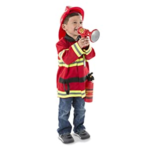 """Melissa & Doug Fire Chief Role Play Costume Set (Pretend Play, Frustration-Free Packaging, Bright Red, 17.5"""" H x 24"""" W x 2"""" L)"""