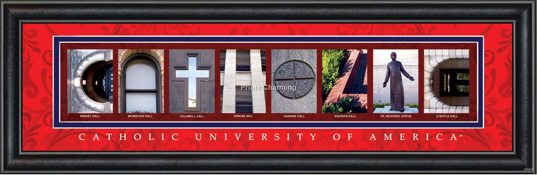 Prints Charming Letter Art Framed Print, Catholic University of America-Catholic, Bold Color Border