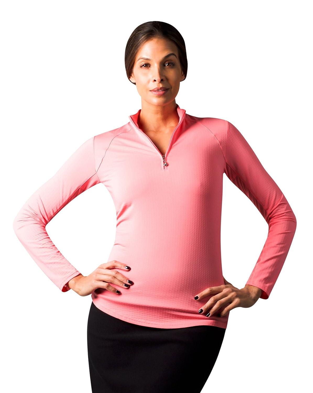 SanSoleil Womens SolTek Ice UV 50 Zip Mock Flamingo