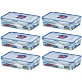 (Pack of 6) Lock & Lock Airtight Rectangular Food Storage Container 27.05-oz/3.38-cup