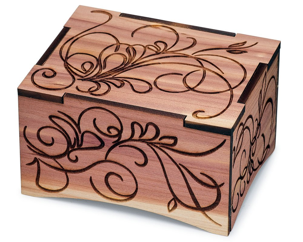 TheLaser'sEdge, Aromatic Red Cedar Windup Personalizable Music Box, Laser Engraved Wood (Standard - Black Velvet, Can't Help Falling in Love)