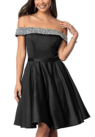 Off The Shoulder Homecoming Dresses with Pocket Satin Beaded Short Prom Dresses Black Size 2