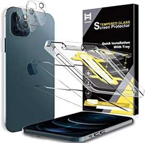 4 Pack HATOSHI 2 Pack Screen Protector + 2 Pack Camera Lens Protector Compatible with iPhone 12 Pro 5G 6.1 inches Tempered Glass - NOT for iPhone 12, Alignment Tool Easy Installation, Clear