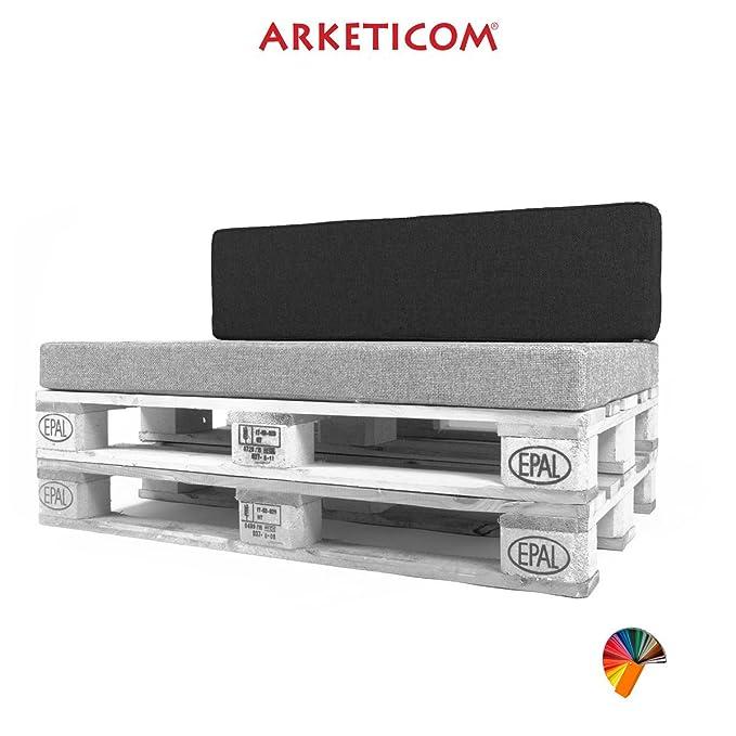 Arketicom Pallett-One, Cojin Respaldo para Sofa en Pallet, Poliuretano HD, Tejido Beige Ecru Misto Cotone 80 cm Lung x 30 cm alt x 15 grossor. 1000% ...