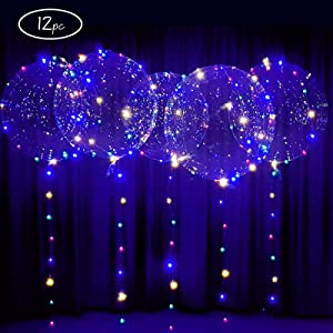 Big 22inch LED Balloons 12 pack with batteries included-light up Bobo Party Clear Balloons, DIY kit for helium or air (12 pack)