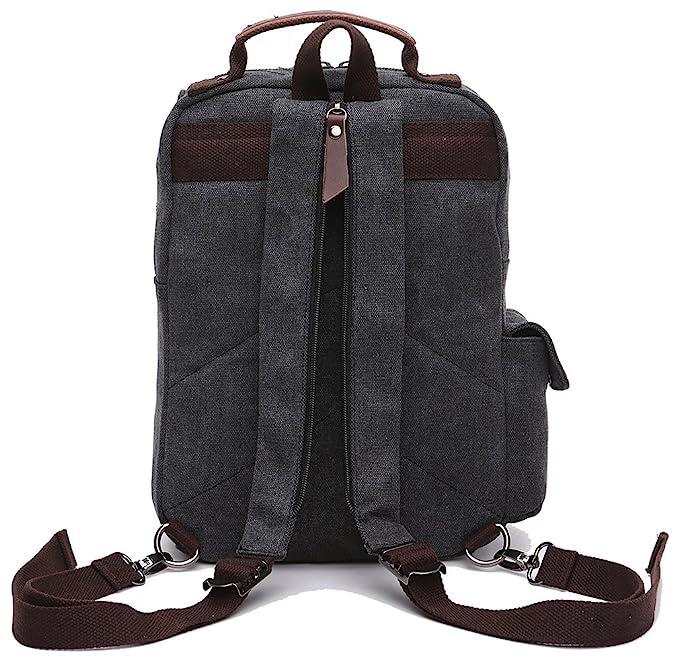 Amazon.com   ZUOLUNDUO Small Canvas Backpack Schoolbag Shoulder Bag Rucksack Daypacks M8596SJ, Black   Backpacks