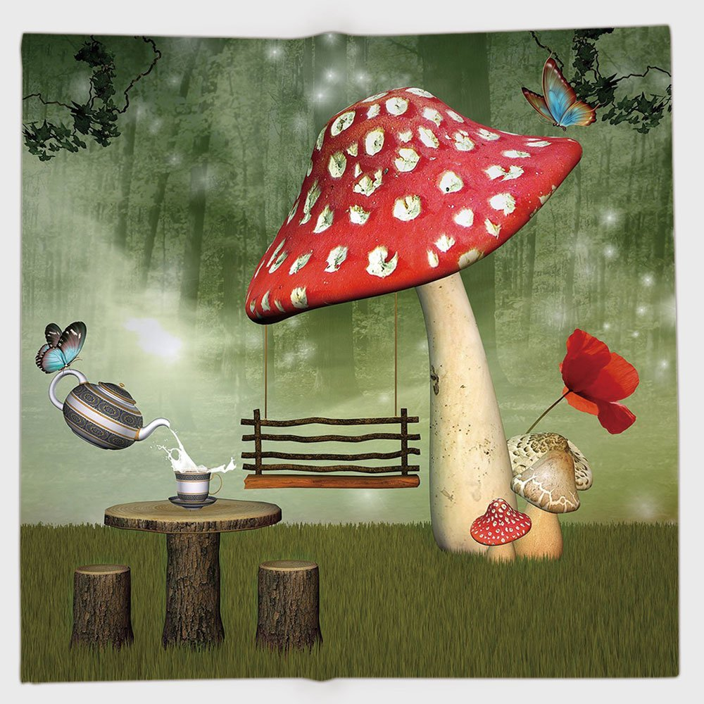 Cotton Microfiber Hand Towel,Mushroom,Picnic in Fantasy Garden Wood Table Poppy Flower Swing Teapot and Milk Splash Decorative,Multicolor,for Kids, Teens, and Adults,One Side Printing