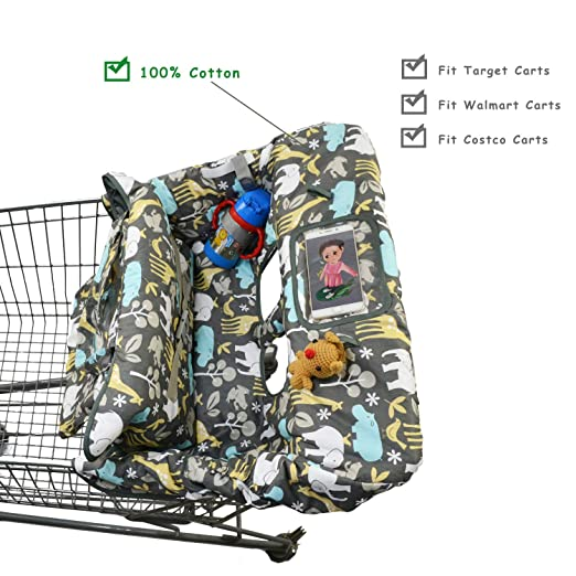 2-in-1 Cotton Shopping Cart Cover for Baby Toddler High Chair Cover with Cell Phone Carrier-Summer...