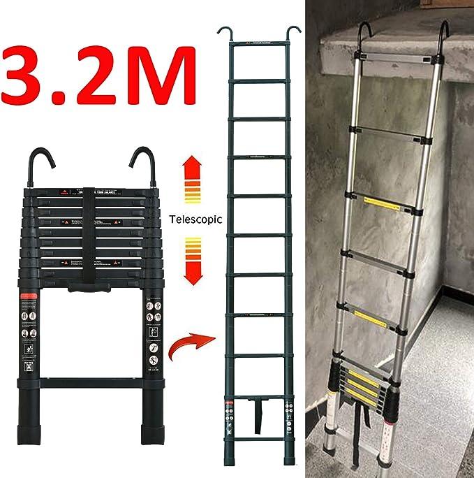 Escalera telescópica con gancho desmontable para altillo, escalada, construcción de viviendas, 3,2 m, aluminio, plegable, ligera, 150 kg (330 libras) escalera plegable y antideslizante: Amazon.es: Bricolaje y herramientas