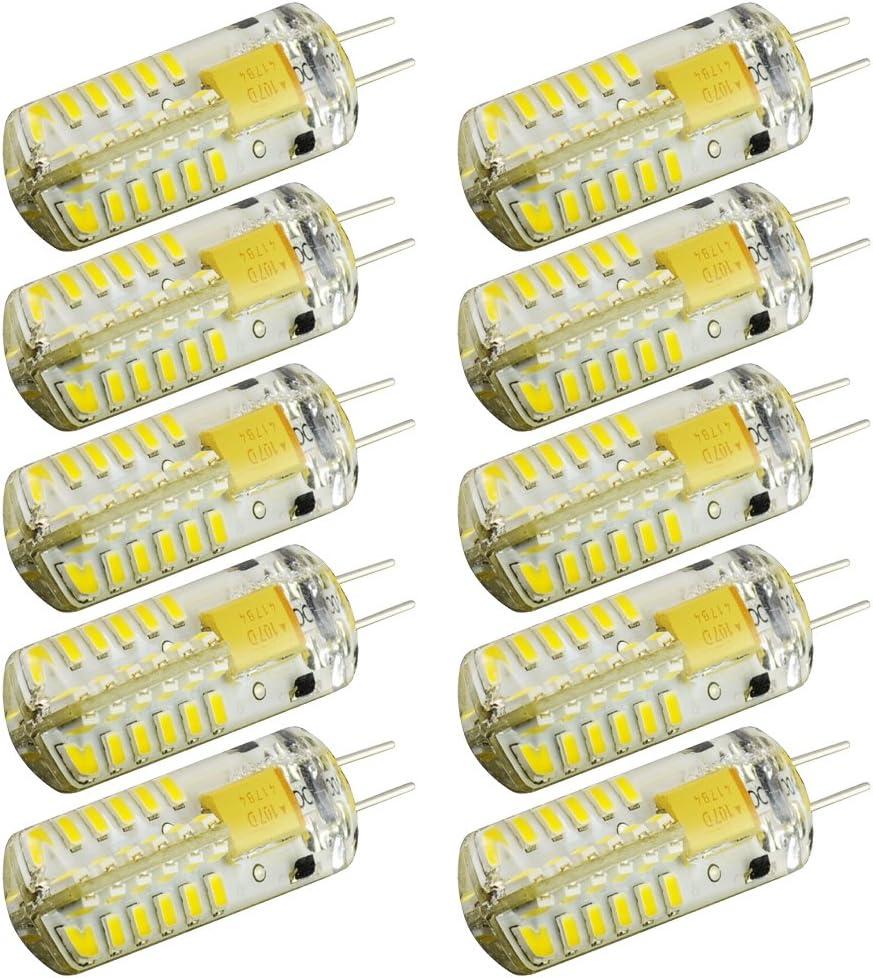 ArlyMama , 10 unidades (10 piezas/Direct Hardware) G4 tipo 48 LED luces lámpara 3 vatios bombillas AC/dc10-24v luz blanca fría Undimmable 3014 infrarrojos Quivalent A 30 W bombilla incandescente corri