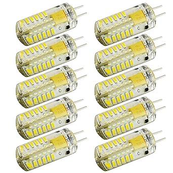 Paquete de 10 bombillas halógenas tipo G4, 48 LED, 3 vatios, 10 CA/CC, 24 V, ...