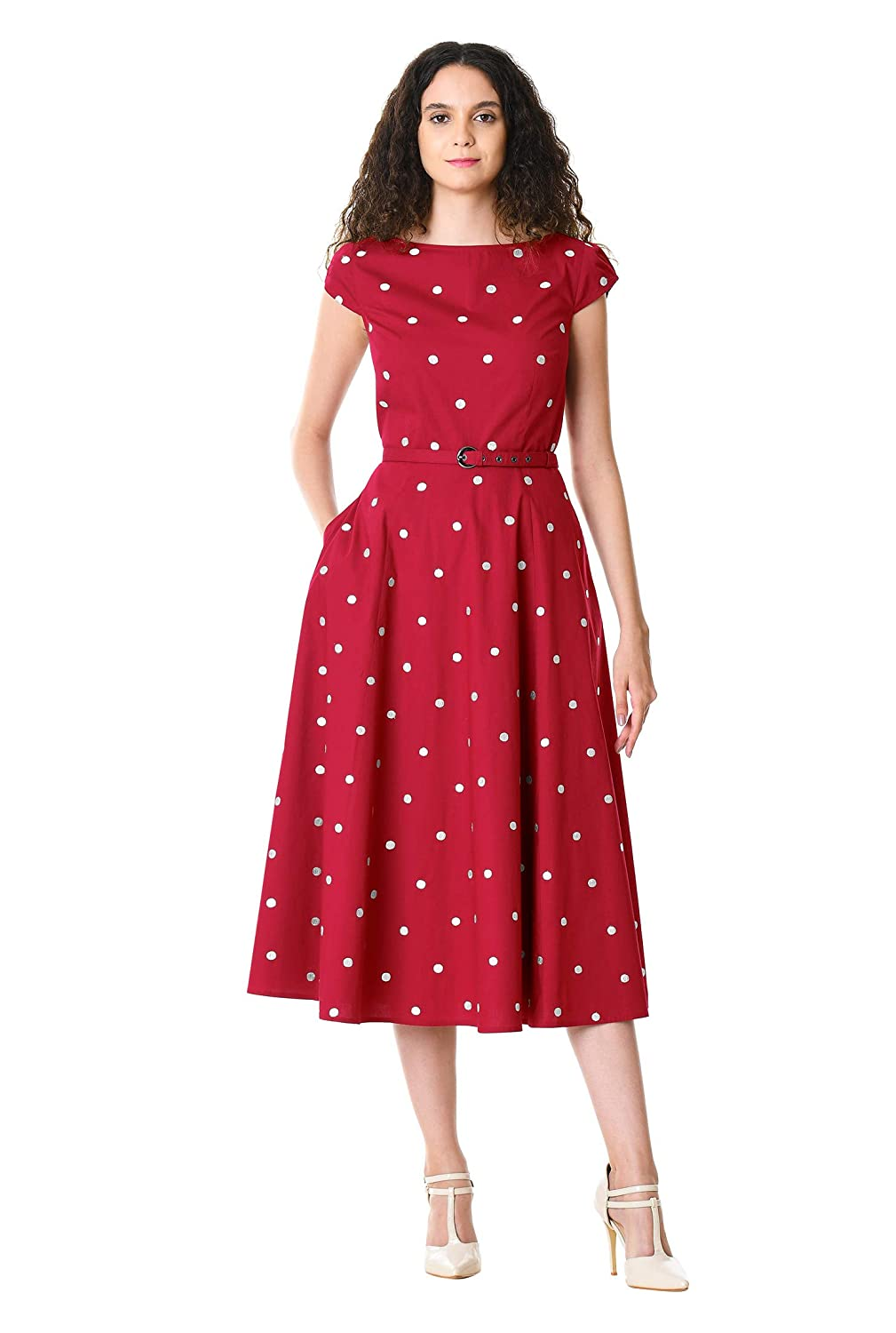 1950s Swing Dresses | 50s Swing Dress eShakti Womens Polka dot Embellished Cotton poplin Dress $74.95 AT vintagedancer.com