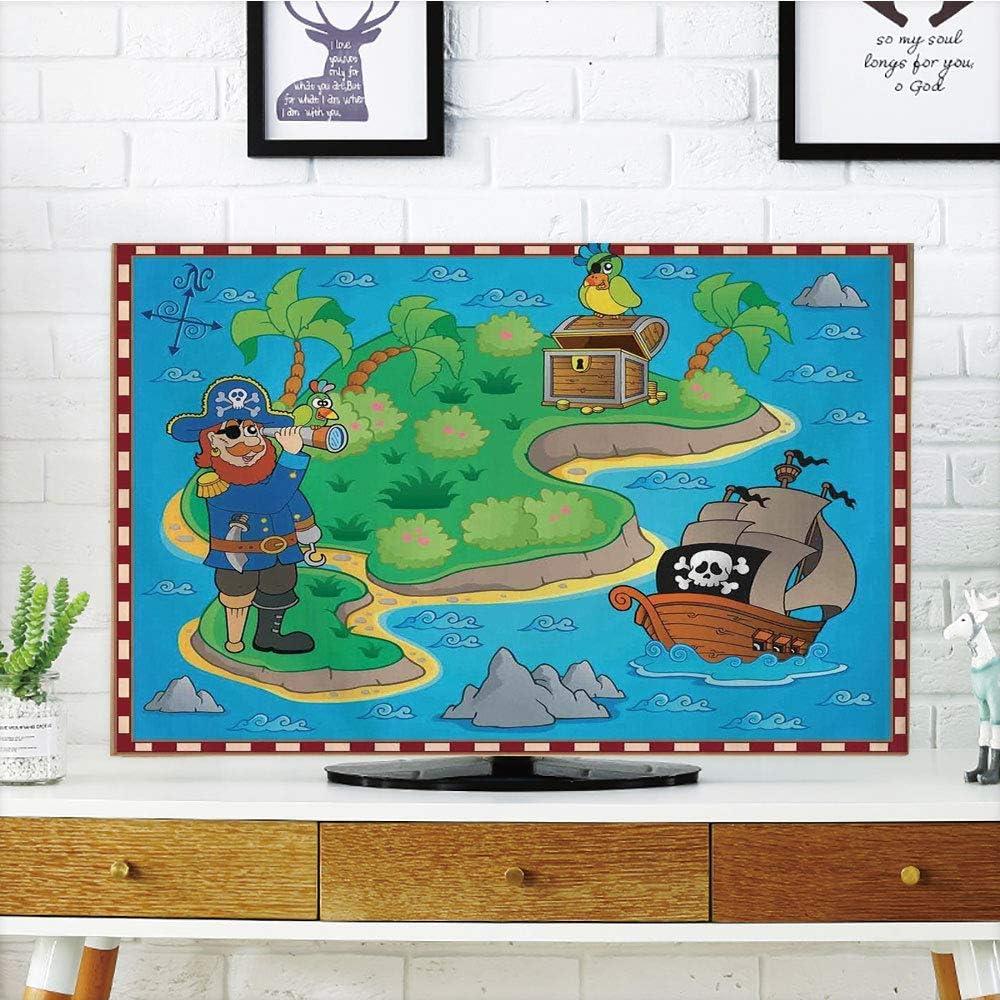 Cubierta de polvo para televisor LCD, resistente durabilidad, mapa de isla, mapa antiguo con fecha en color denso sobre fondo de madera, diseño de arte oculto en las costas, color marrón naranja,
