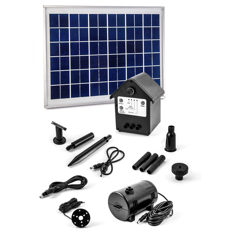 CLGarden Pompa Solare con accumulatore NASP3 Incluso Pannello Solare con 10 Watt e Illuminazione a LED, Set Completo Pronto per Il Montaggio