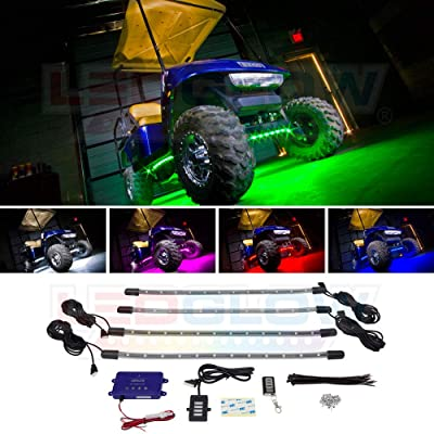 LEDGlow 4pc Million Color LED Golf Cart Underbody Underglow Accent Neon Light Kit for EZGO Yamaha Club Car - Water Resistant Flexible Tubes - Includes Control Box & Wireless Remote: Automotive