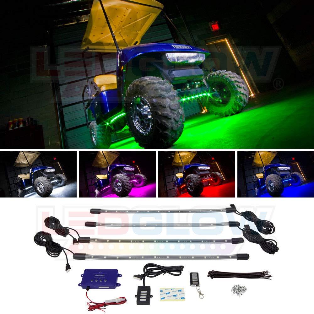 LEDGlow 4pc Million Color LED Golf Cart Underbody Underglow Accent Neon  Light Kit for EZGO Yamaha Club Car - Water Resistant Flexible Tubes -  Includes