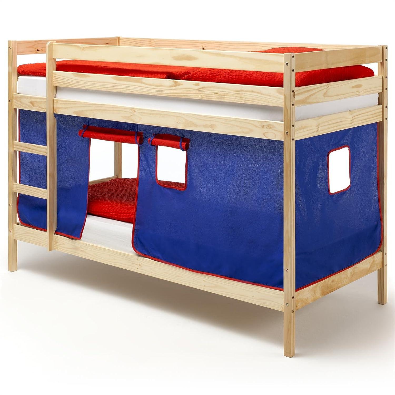 IDIMEX Etagenbett Doppelstockbett Felix, Kiefer massiv, Natur lackiert, lackiert, lackiert, mit Vorhang in blau und rot 32744d