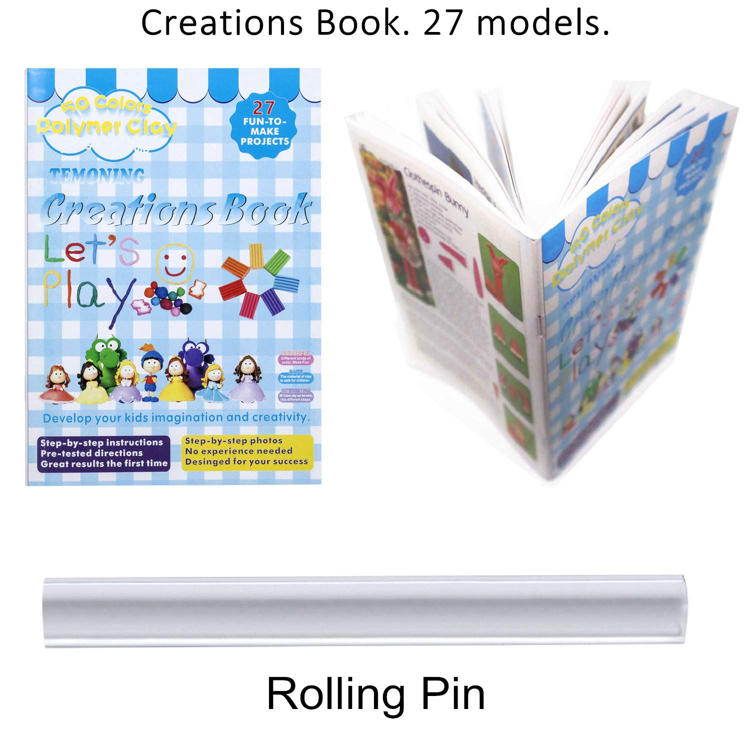 Modelling Clay Soft and Nontoxic DIY Plastic Tools and Accessories size 5*3*1 CM, 0.705 OZ Polymer Clay 50 Colors Oven Bake Clay with 27 Models Creations Book and Rolling Pin