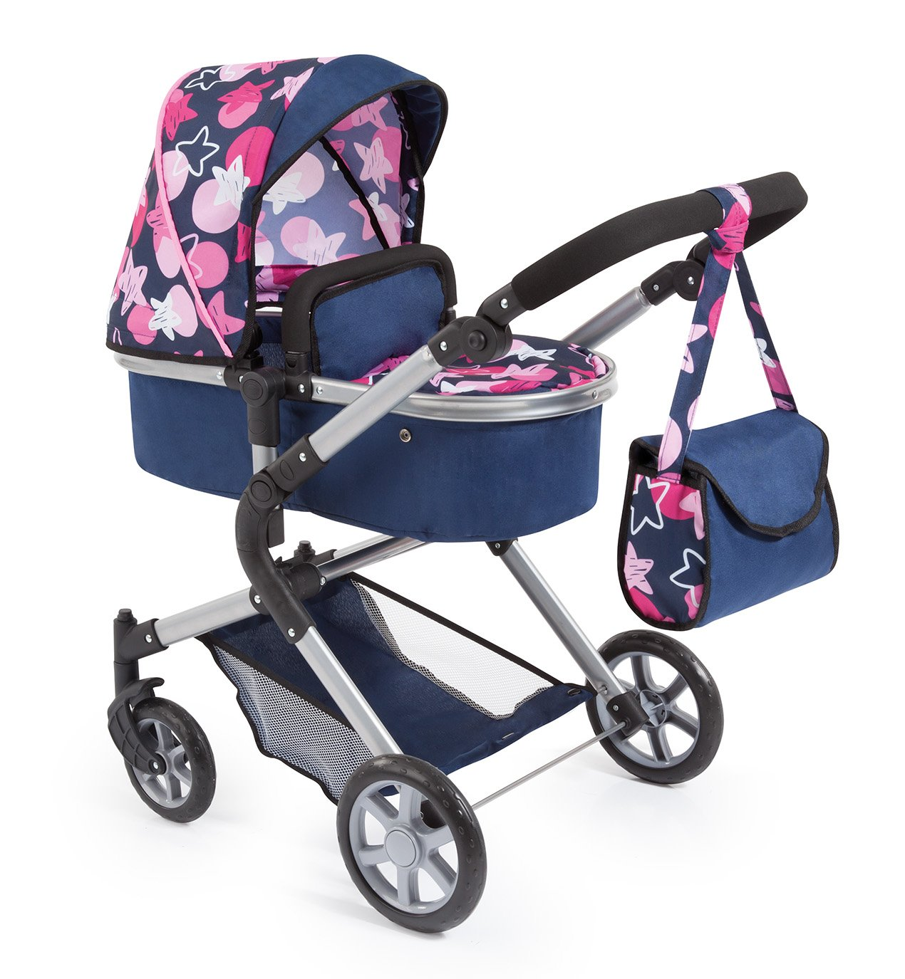 Amazon.com: Bayer Design 18169AA Dolls Pram City Neo with Changing Bag and Underneath Shopping Basket, Convertable to a Pushchair, Blue/Pink: Toys & Games