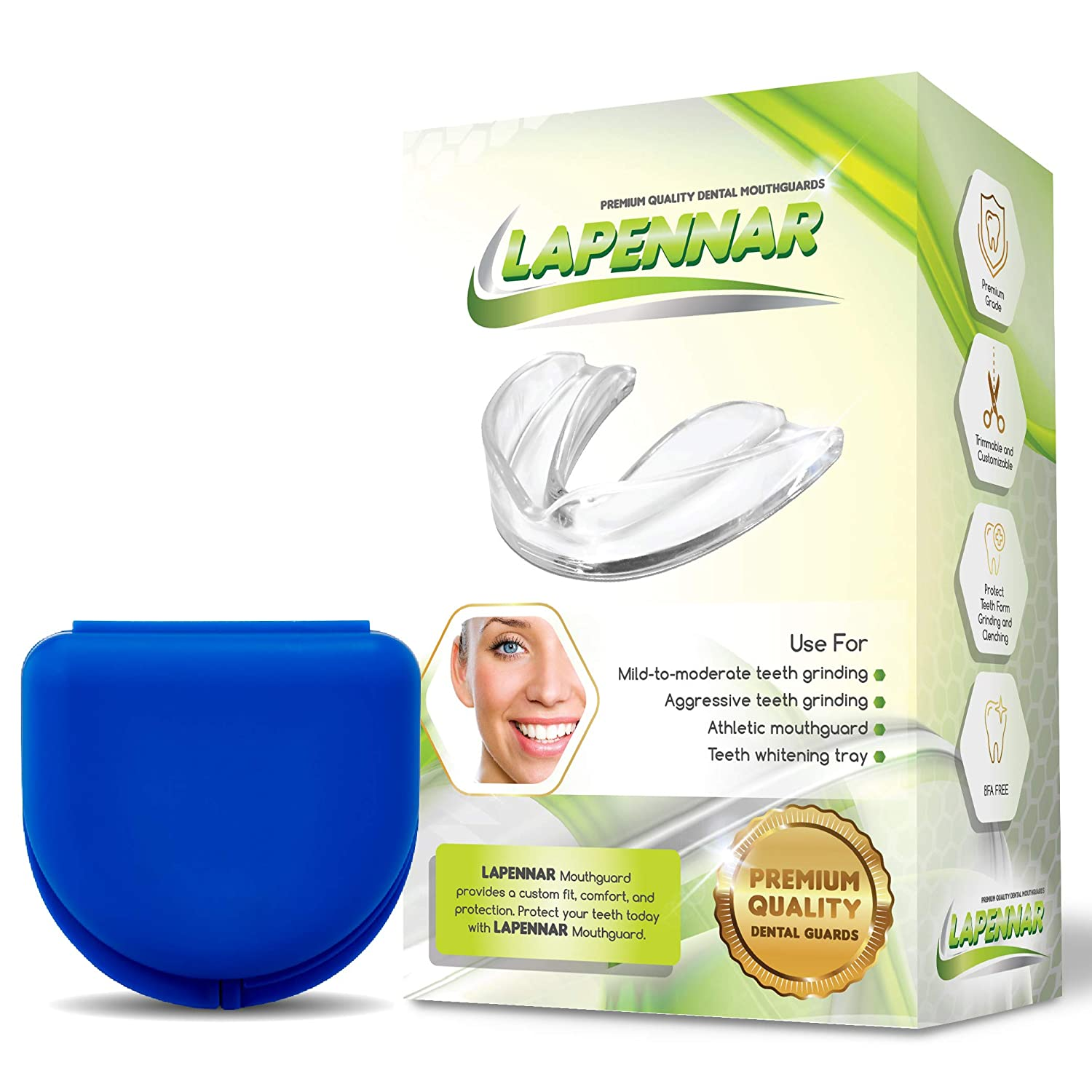 LAPENNAR - 2 Size, Pack of 6 Moldable Mouth Guard for Grinding Teeth Cleanching Bruxism