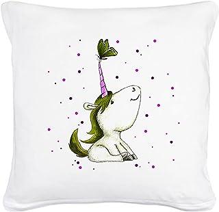 ilka parey wandtattoo-welt® Coussin décoratif Motif Licorne avec Papillon Vert Mousse avec garnissage ks27