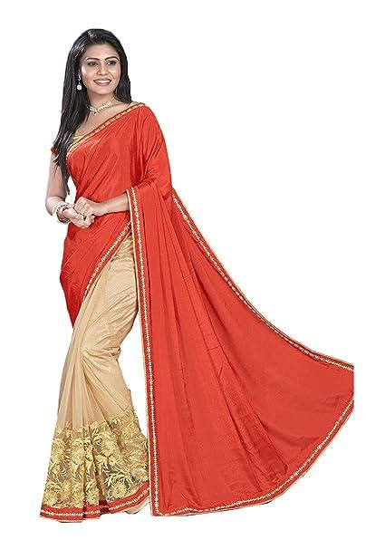 f964c047473 Indian Fashion Indian Women Saree Designer Party wear Wedding orange Color  Sari K-55  Amazon.ca  Clothing   Accessories