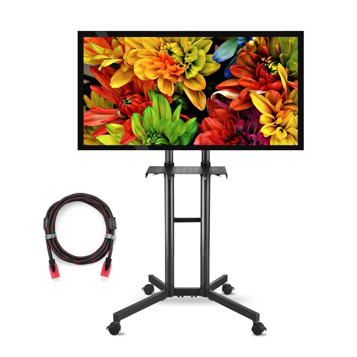 Suptek Universal TV Cart For LCD LED Plasma Panel Stand Mount With Wheels Mobile And 1 Adjustable Shelf For 32 to 60 Inch (ML5073-3)