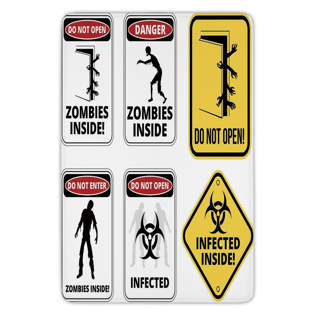 Bathroom Bath Rug Kitchen Floor Mat Carpet,Zombie Decor,Warning Signs for Evil Creatures Paranormal Construction Do Not Open Artwork,Multicolor,Flannel Microfiber Non-slip Soft Absorbent