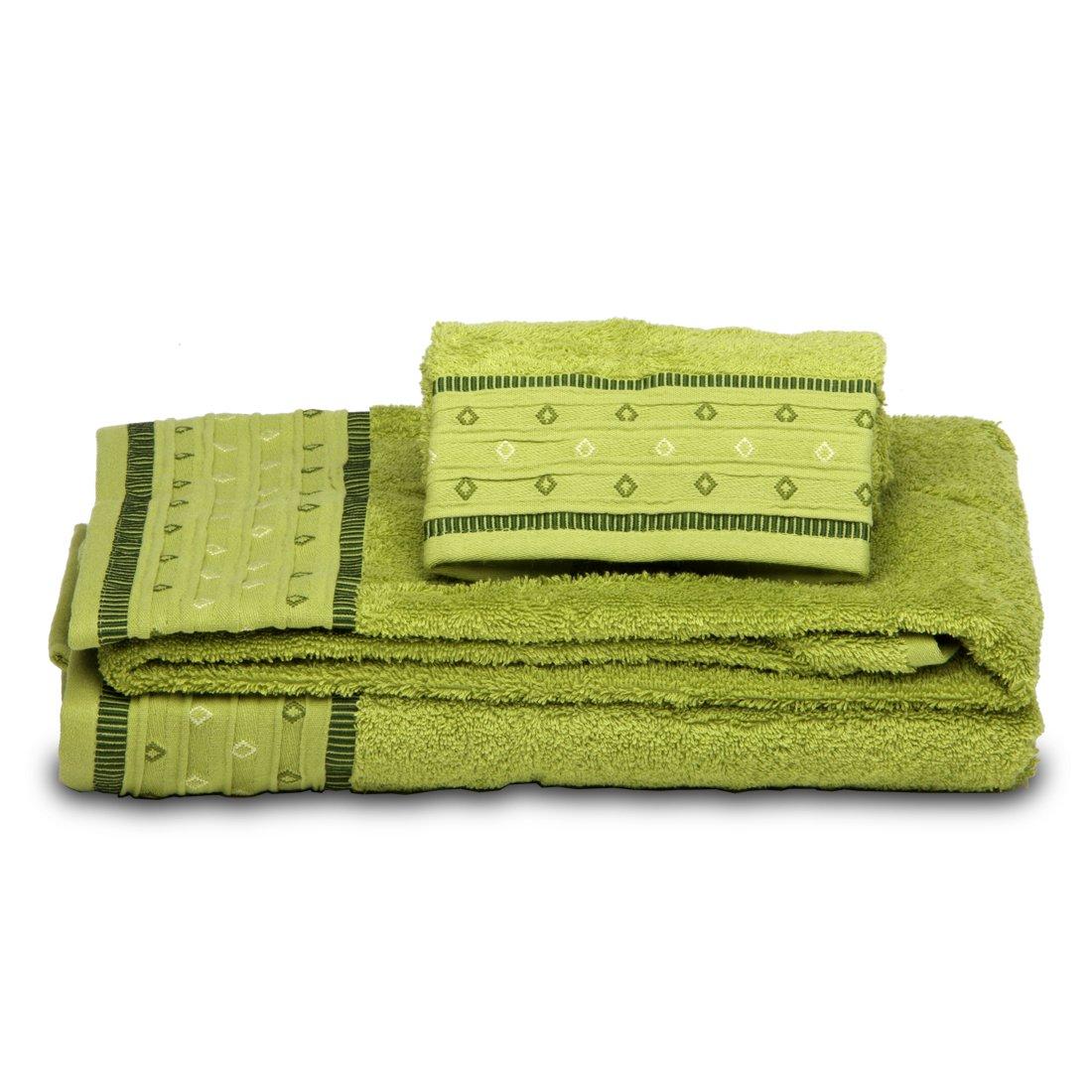 Burrito Blanco - Juego de toallas 102 Verde de 30x50, 50x100 y 70x140 cm: Amazon.es: Hogar