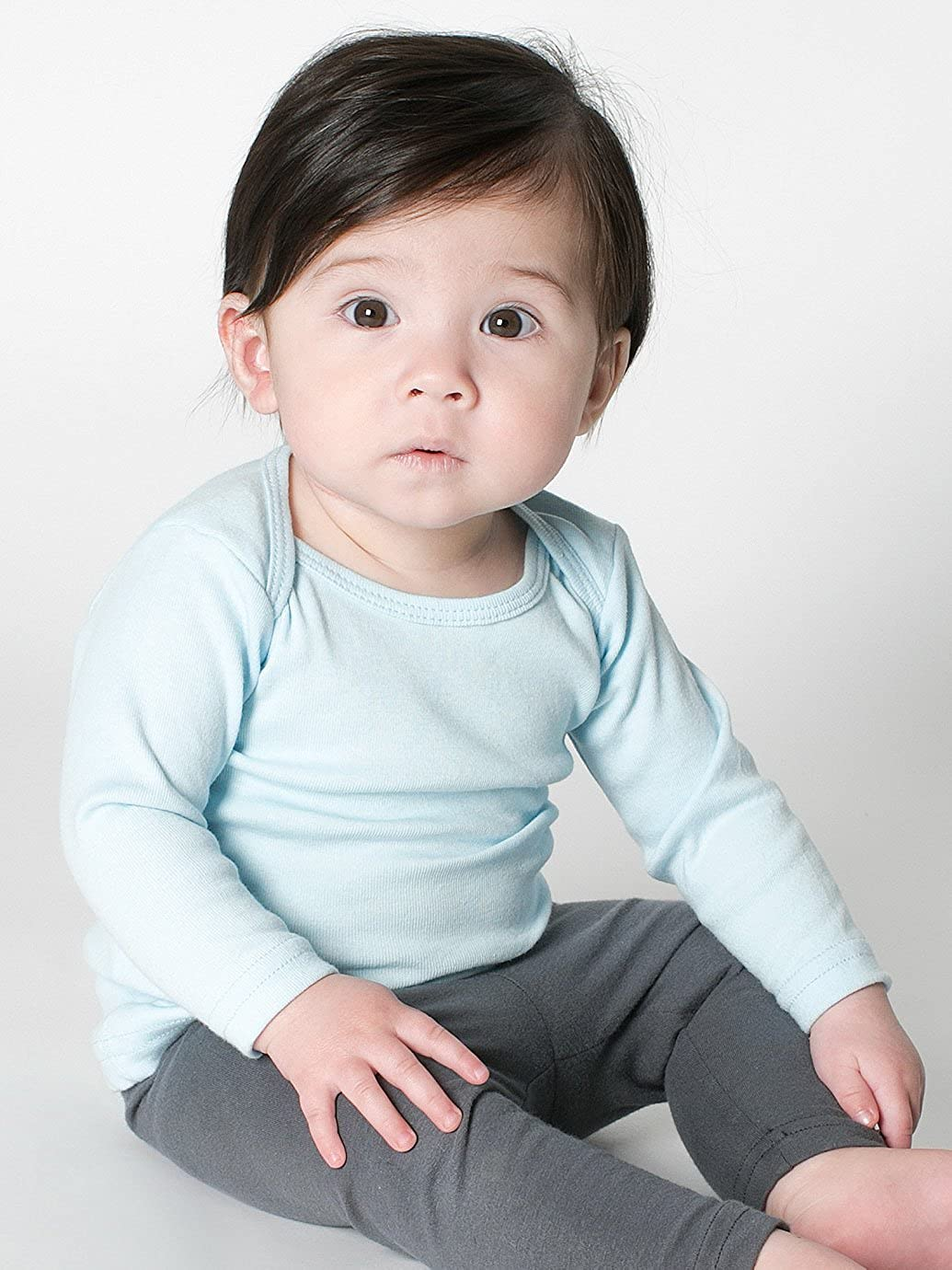 American Apparel Kids Infant Baby Rib Long Sleeve Lap T-Shirt Size 6-12M Baby