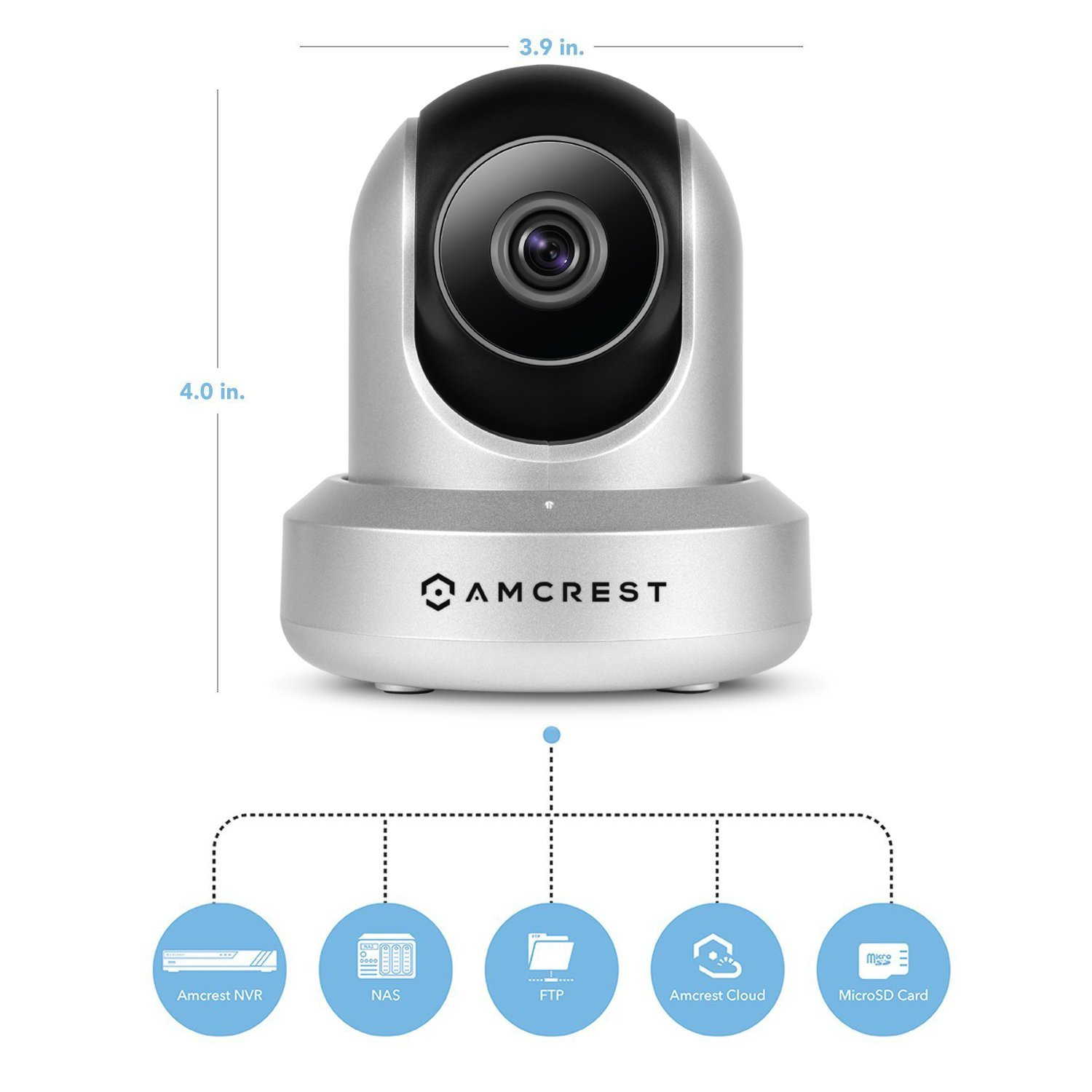 Amcrest UltraHD 2K WiFi Camera 3MP Security Wireless IP Camera with Pan/Tilt, Dual Band 5ghz/2.4ghz, Two-Way Audio, Wide 90° Viewing Angle and Night Vision IP3M-941S (Silver) by Amcrest (Image #3)