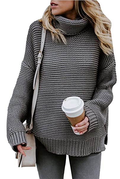 c8b44118416 CEASIKERY Womens Turtleneck Long Sleeve Chunky Knit Pullover Sweater 59 at  Amazon Women's Clothing store: