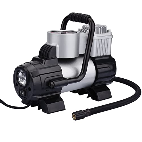 KZKR Digital Portable Air Compressor Tyre Inflator Pump,Heavy Duty,12V 100PSI with LED working light.