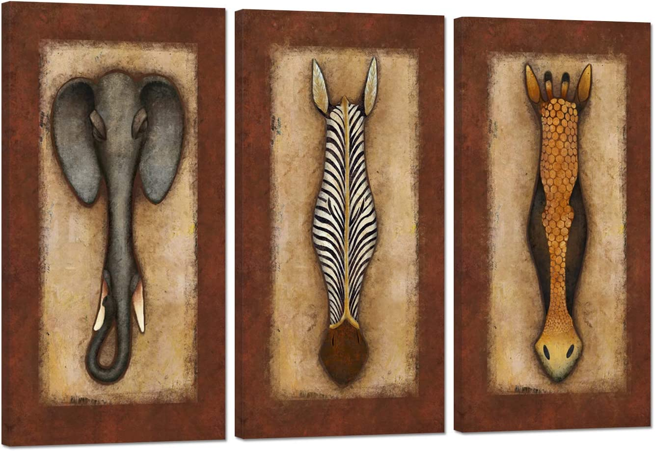 Zlove 3 Pieces Abstract African Animals Wall Art Giraffe Zebra and Elephant Vintage Africa Style Artwork Painting on Canvas for Living Room Decor Framed Ready to Hang 12x24inchx3pcs