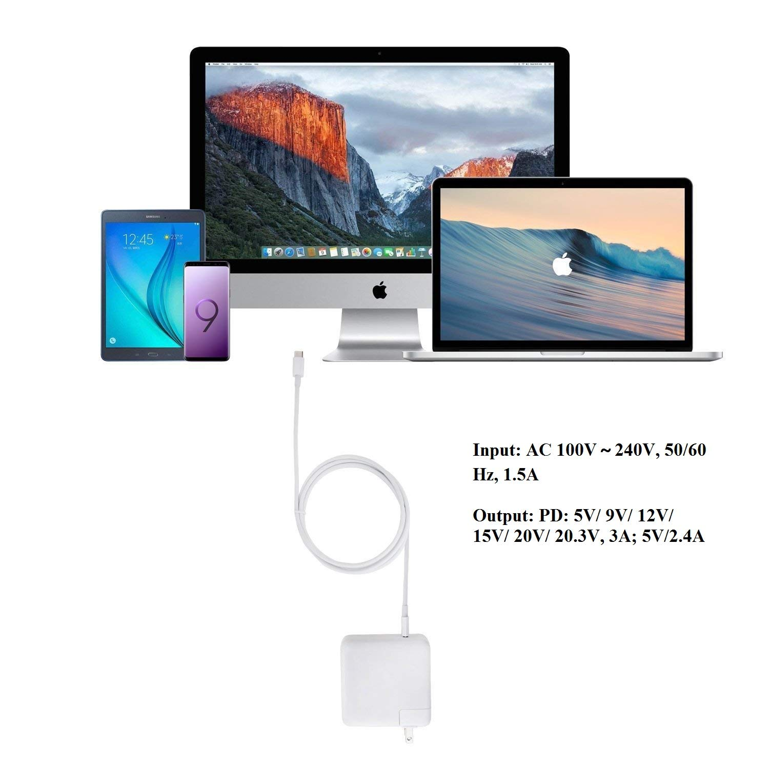 GSNOW 61W USB-C Power Adapter Charger - Compatible with 2016 2017 to Current MacBook Pro 13 Inch Laptop with Touch Bar Two and Four Thunderbolt 3 Ports MNF72LL/A A1706- with Type C Charge Cable by GSNOW (Image #6)