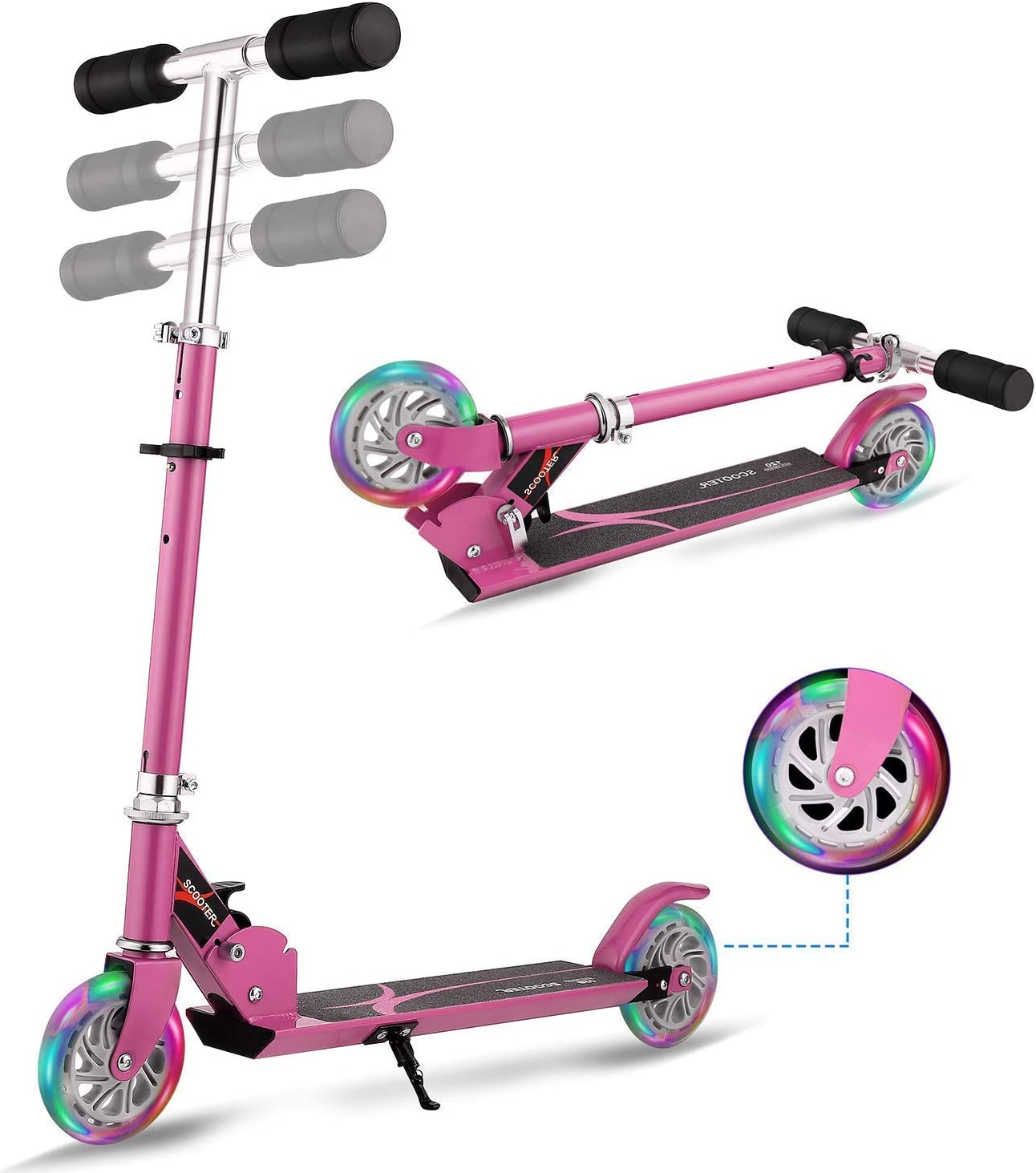 WeSkate Scooter for Kids Foldable 2 Wheel Light Up Kick Scooter for Girl Adjustable Height Gift for 3-12 Years