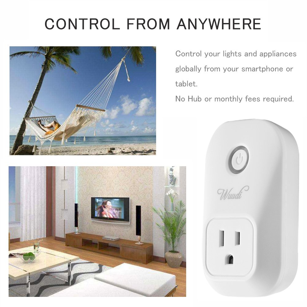 Wifi Smart Plug Wuudi Wireless Outlet No Hub Required Smart Timing Socket, Wireless Remote Control Your Devices Work with Alexa (2 Packs) by Wuudi (Image #4)