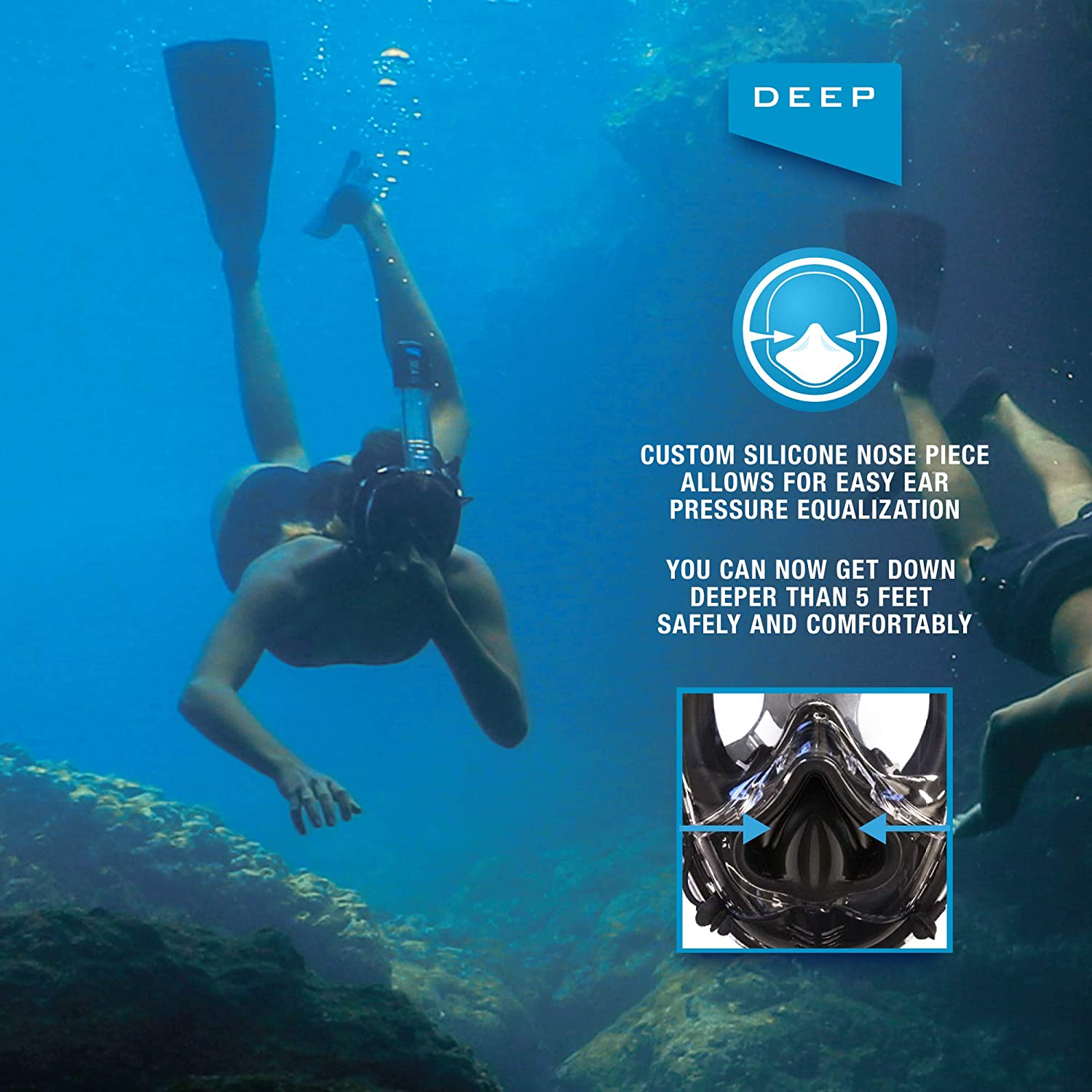 Soft Nose for Diving Only Full Face Snorkel Mask Designed to Protect Against Dangerous CO2 Build-Up Panoramic View Camera Mount Anti-Fog Deep Sea O2 Universal Size- Kids to Adult