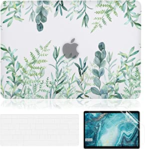 iDonzon Case for MacBook Air 13 inch M1 A2337 A2179 A1932 2020-2018 Release, Matte Clear Hard Cover & Transparent Keyboard Cover & Screen Protector Compatible with Mac Air 13.3 Touch ID, Green Plants