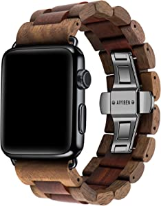 AIYIBEN Watch Band 42mm/44mm iWatch Band Bracelet Strap Stainless Steel Clap with Adjustable Links Compatible for iWatch Series 4/3/2/1 Sport Edition (Walnutwood + Sandalwood-42mm/44mm)