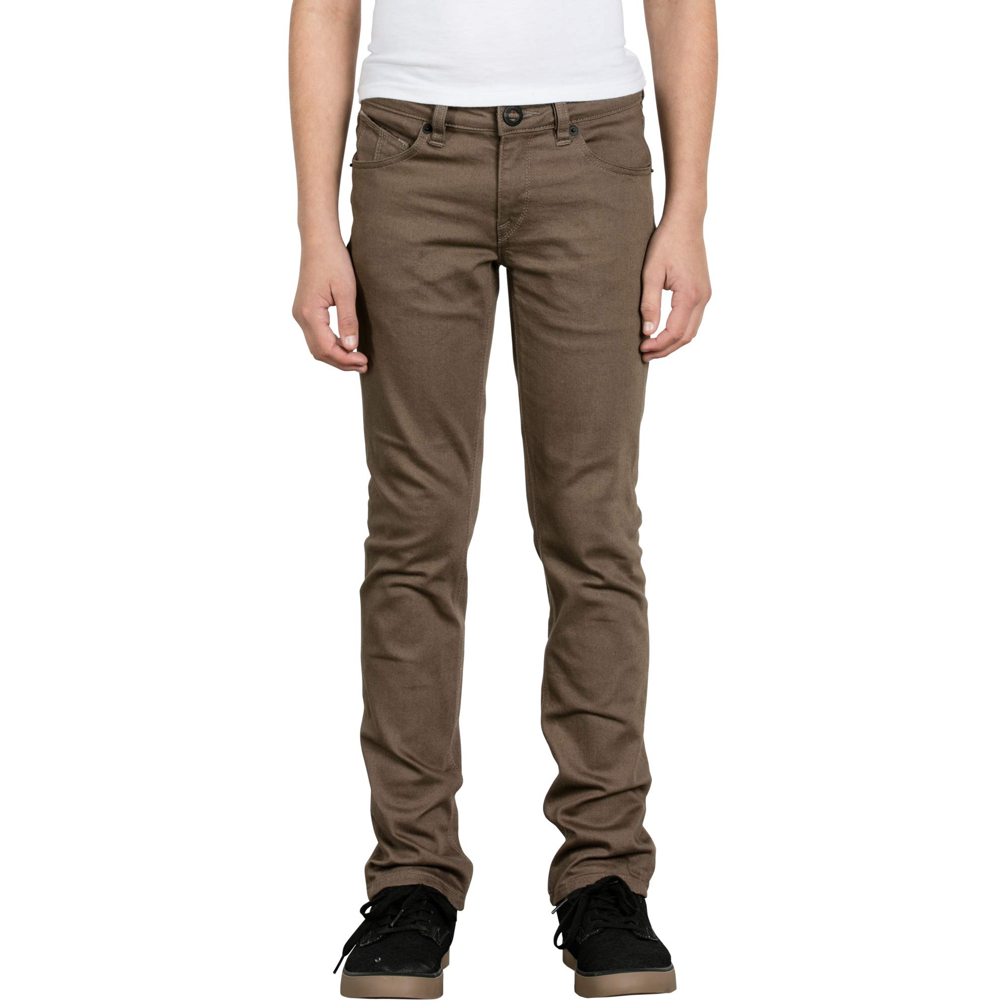 Volcom Big Boys' Vorta 5 Pocket Slub Slim Fit Pant, Mushroom, 30