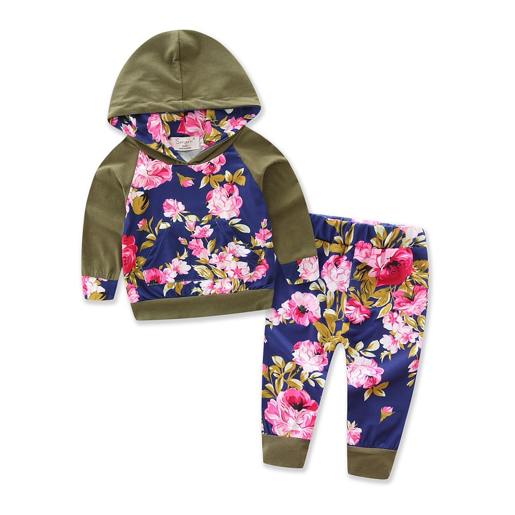 Baby Girls Floral Hoodie+ Floral Pant Set Leggings 2 Piece Outfits CC-CVPT-MM10
