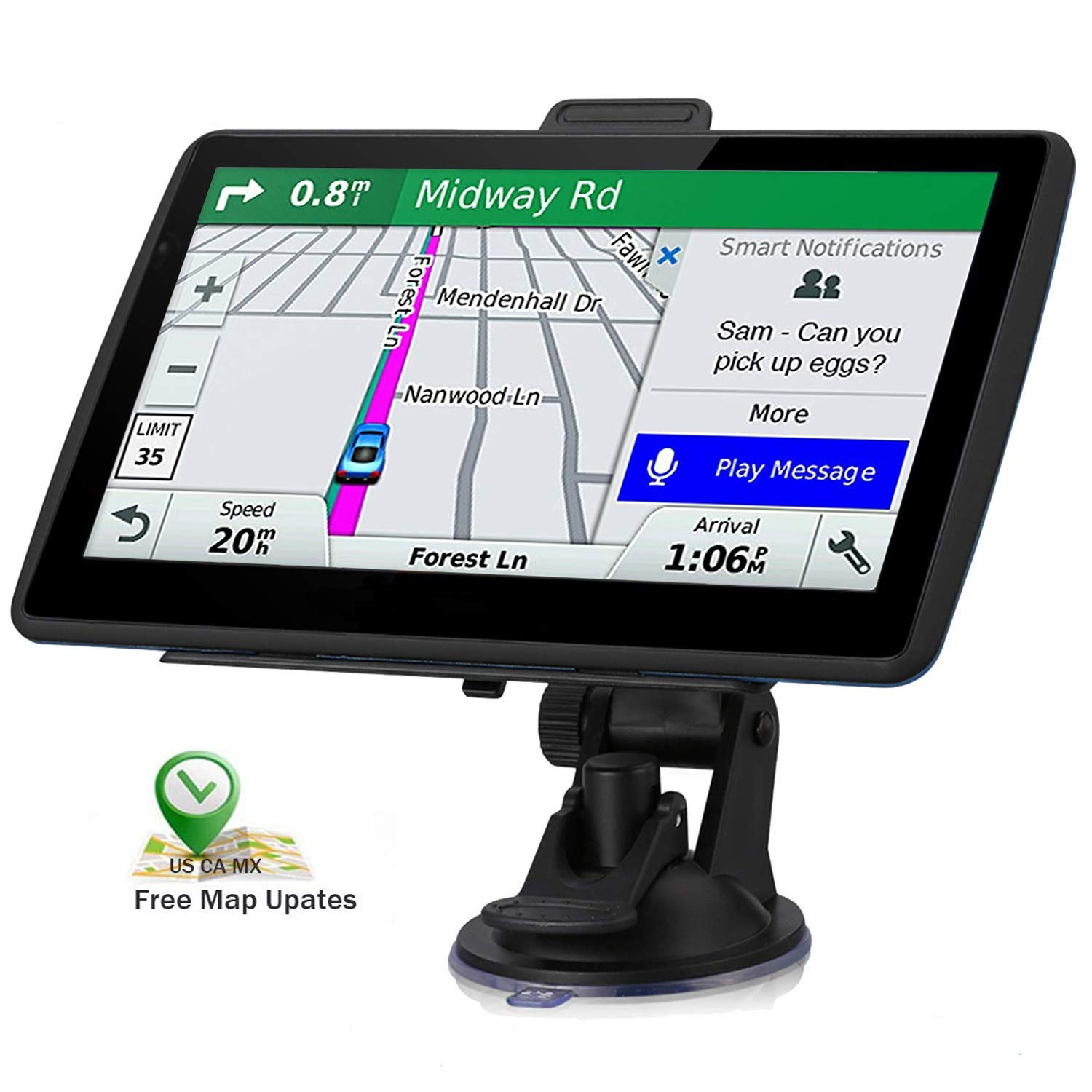 Car GPS Navigation, 7-inch HD GPS Navigation 256-8GB Voice Broadcast Navigation, top-Loading North America map (USA, Canada, Mexico map) Lifetime map Free Update by JANFUN